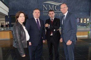 """DKANE 25/09/2015 REPRO FREE Orla Flynn, Vice President for External Affairs, John Mullins, Chairman of the Port of Cork, Conor Mowlds, Head of NMCI Services and Minister for Agriculture and The Marine Simon Coveney TD  at the 2015 Irish Maritime Forum in the National Maritime College of Ireland, Cork. The forum will look at the ocean of opportunities that exist within the sector and concentrate on the key drivers that are set to change in the future.   The theme of the Forum, """"Success through Synergy – an Innovative & Dynamic approach to the future"""" will provide maritime professionals with an insight into the current industry obstacles and future industry plans. Attendees will have an opportunity to question key industry leaders on their plans and how they approach problems they are faced with. The Forum will also highlight key areas where synergies need to be developed in order to put Ireland at the forefront of the Maritime Sector, worldwide. Pic Darragh Kane."""